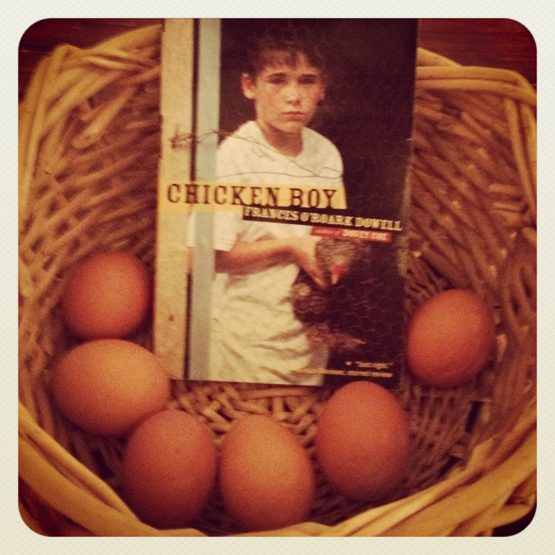 chickens and books, book and basket, basket and eggs